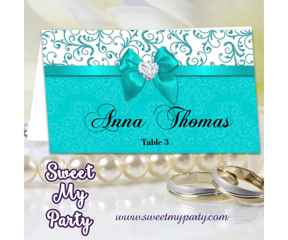 Turquoise Diamonds Wedding Place Card template,(006bw)